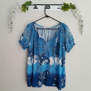 Ombre Blue/White Paisley Patterned Lace Sleeve Top